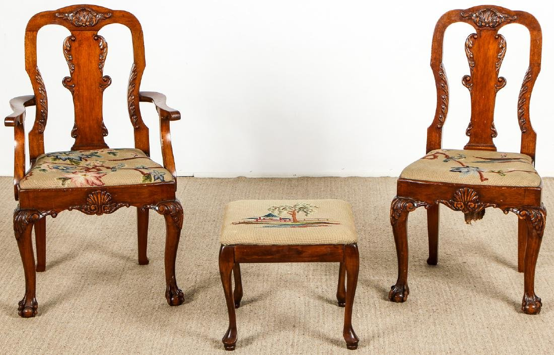 2 Chippendale Style Chairs and Footstool