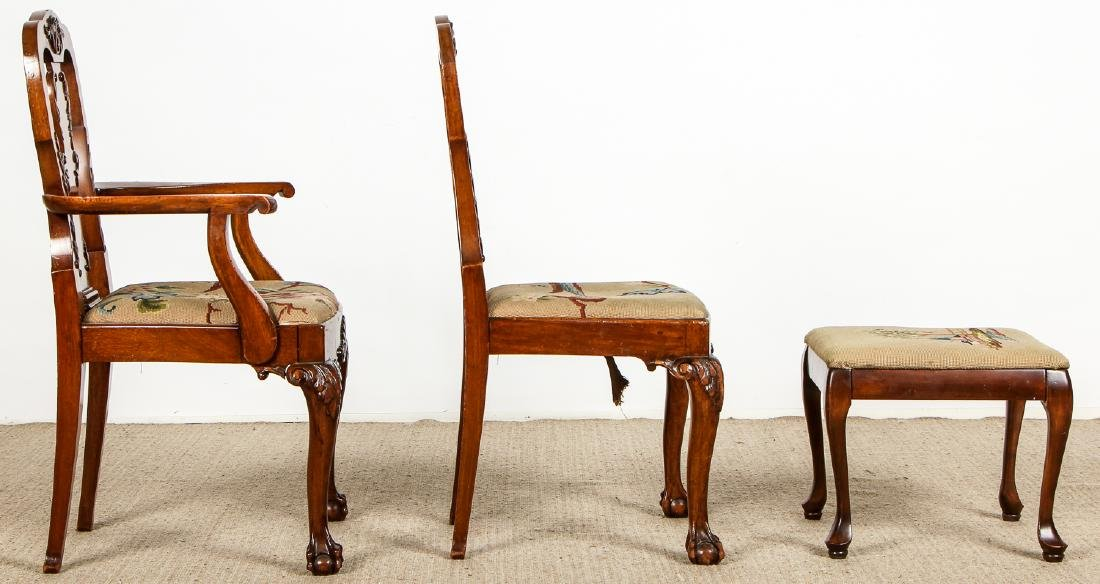 2 Chippendale Style Chairs and Footstool - 6
