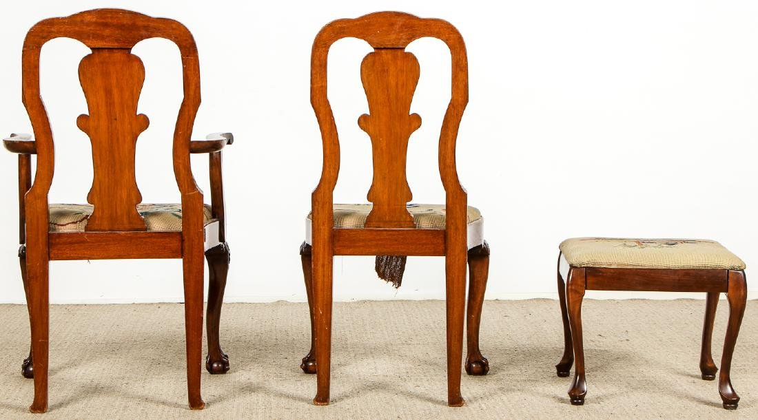 2 Chippendale Style Chairs and Footstool - 7