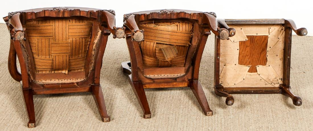 2 Chippendale Style Chairs and Footstool - 8