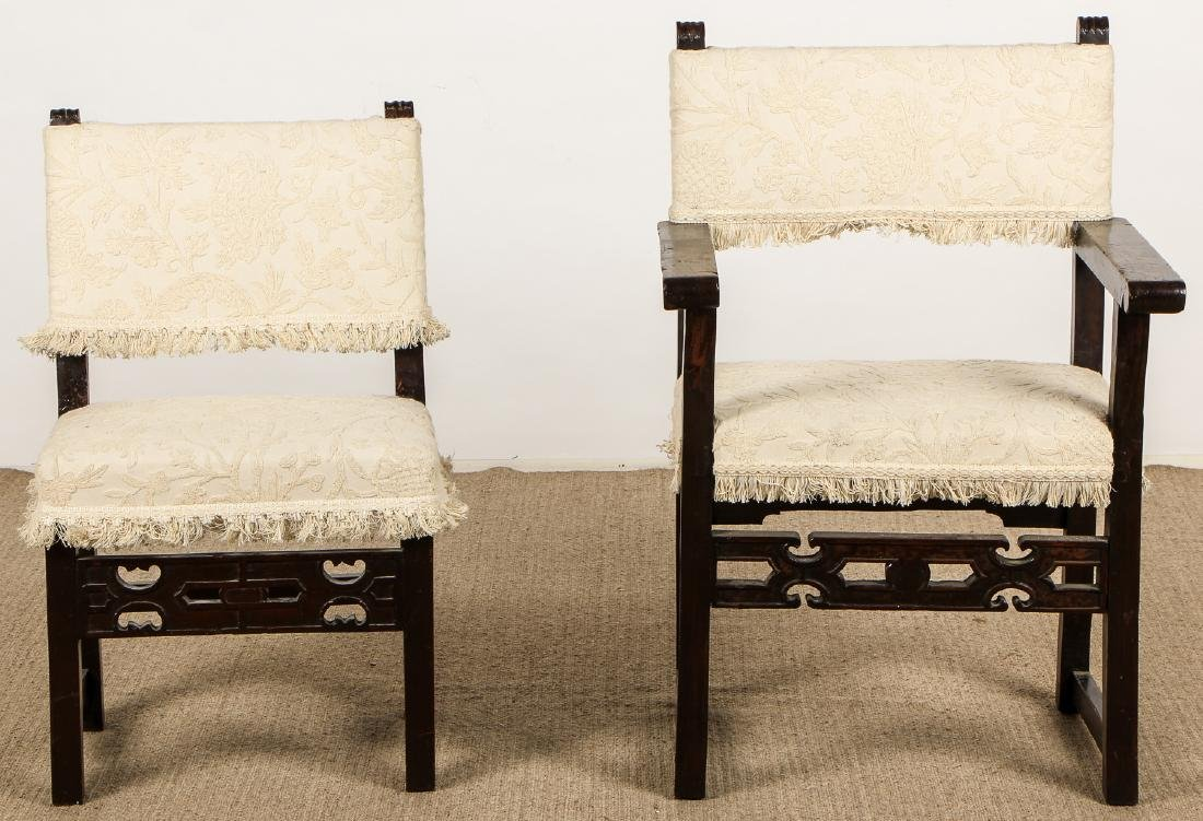 2 Antique Elizabethan Style Chairs
