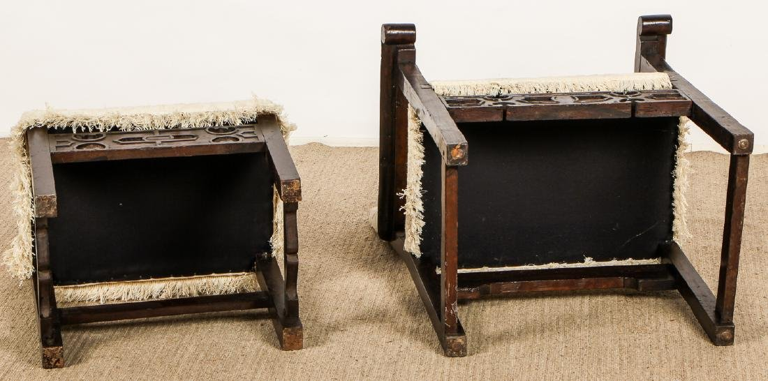 2 Antique Elizabethan Style Chairs - 8