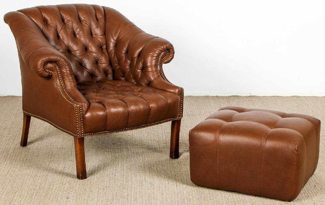 Vintage Leather Chair with Ottoman