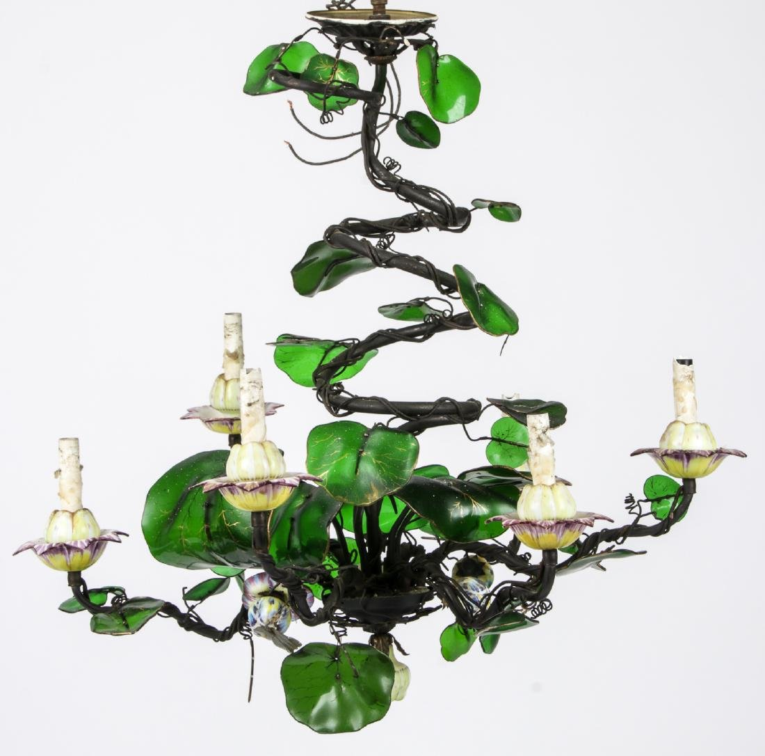 Vintage Candelabra Chandelier with Glass Leaves
