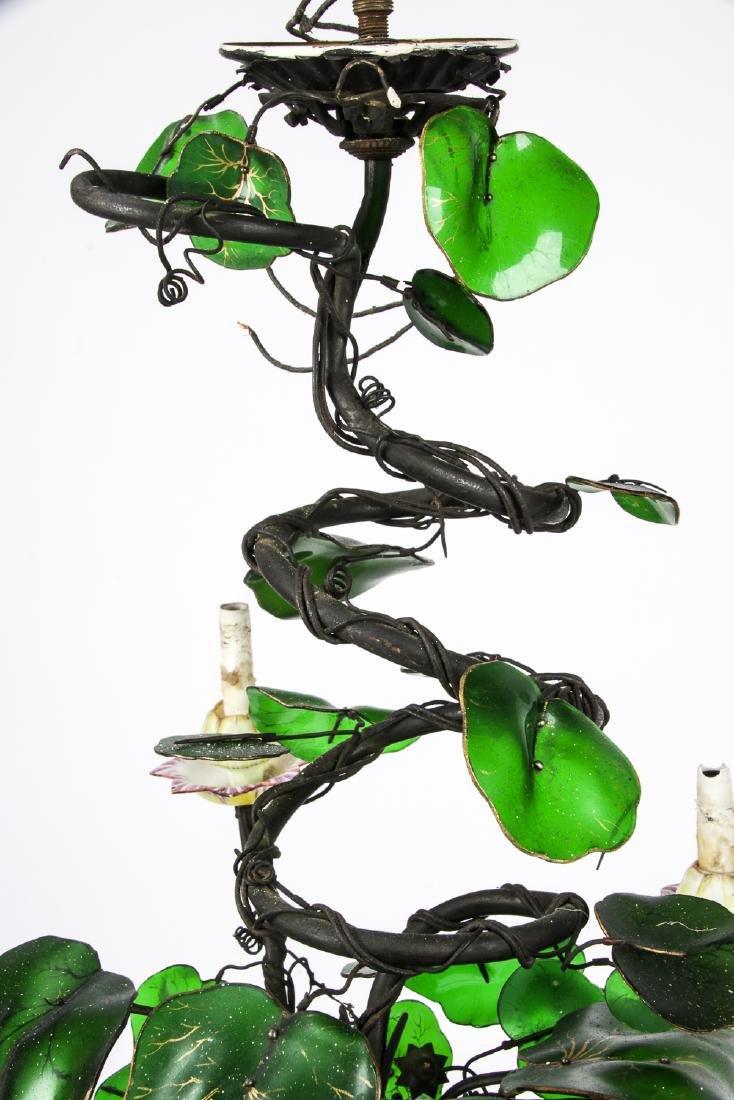 Vintage Candelabra Chandelier with Glass Leaves - 2