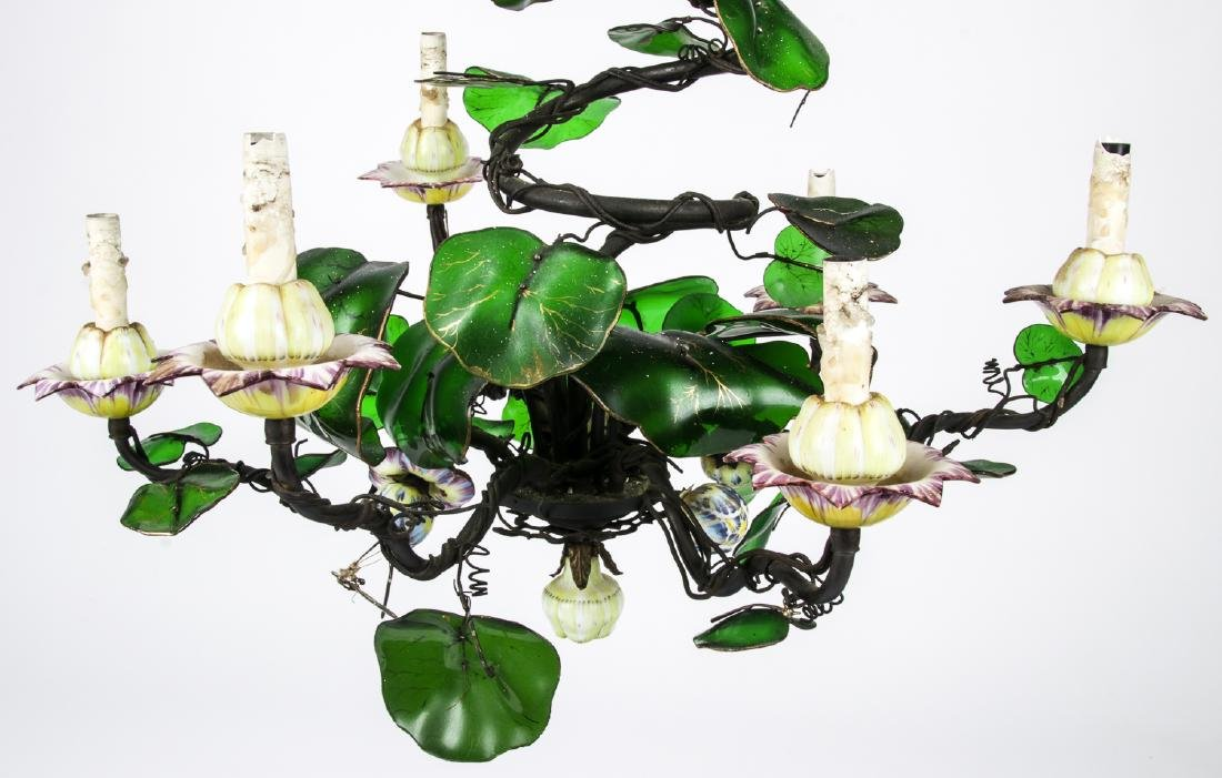 Vintage Candelabra Chandelier with Glass Leaves - 3