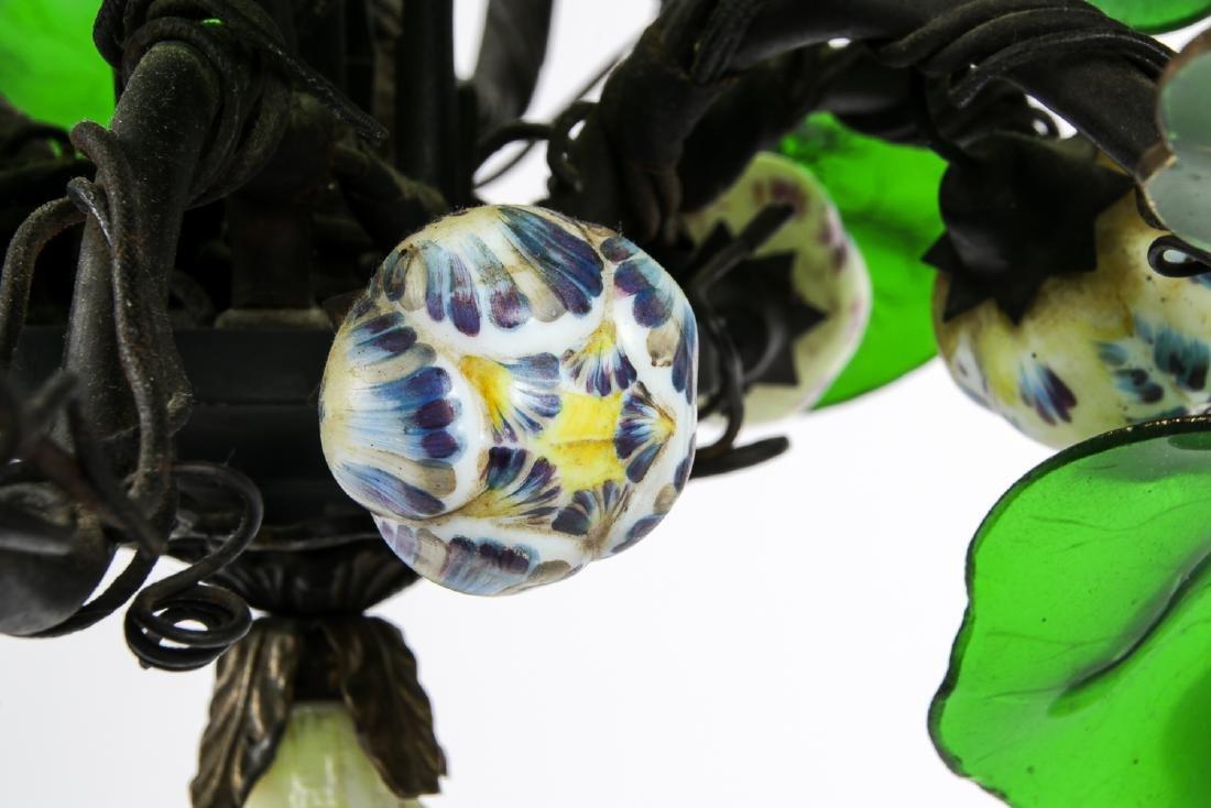 Vintage Candelabra Chandelier with Glass Leaves - 5