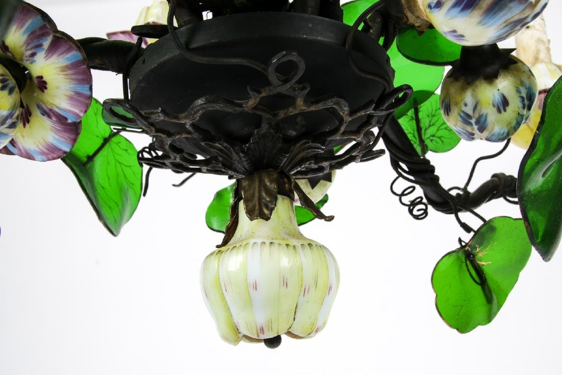 Vintage Candelabra Chandelier with Glass Leaves - 6