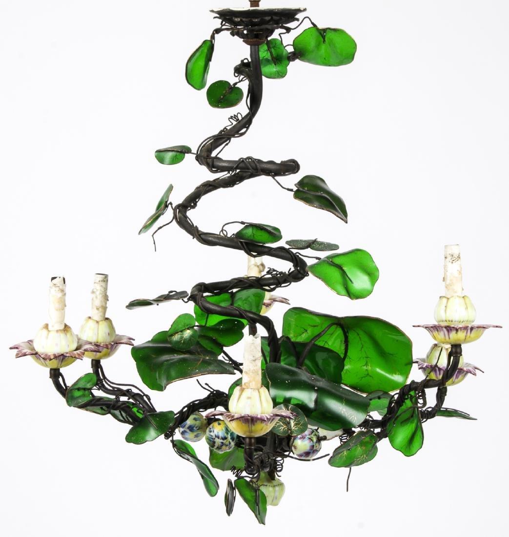 Vintage Candelabra Chandelier with Glass Leaves - 7