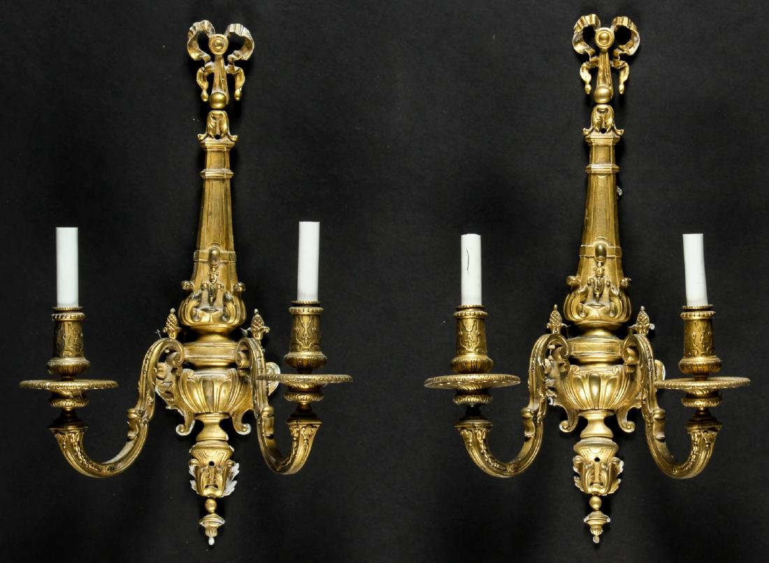 Pair of Regency Style Gilt Bronze Sconces