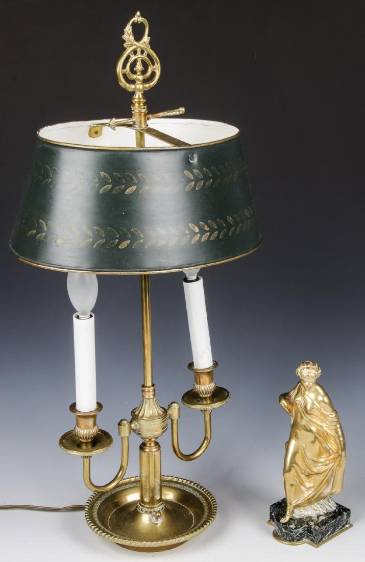 Brass Candelabra Lamp and Brass Statue