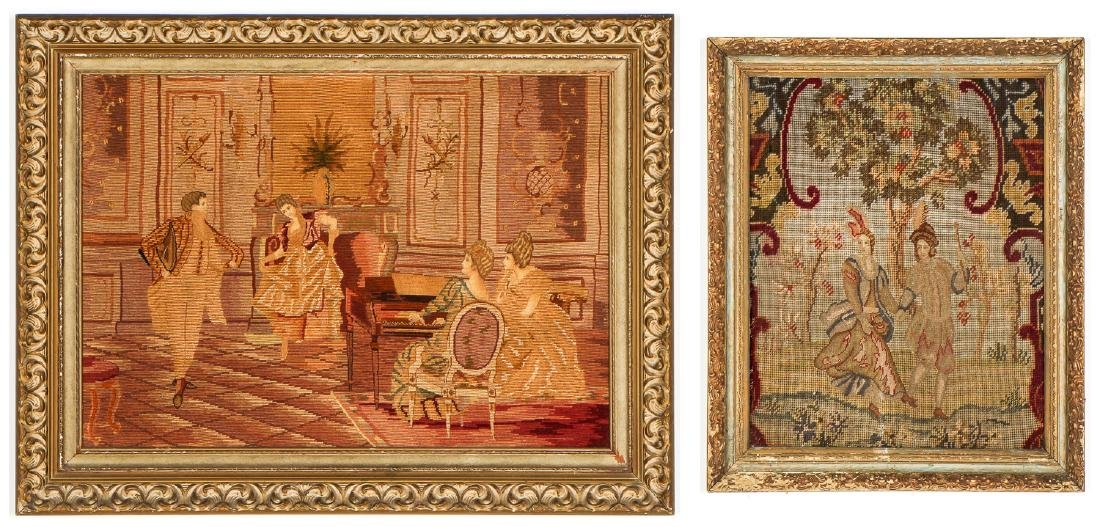 2 Framed Needle Point Works, with Petit Point Details