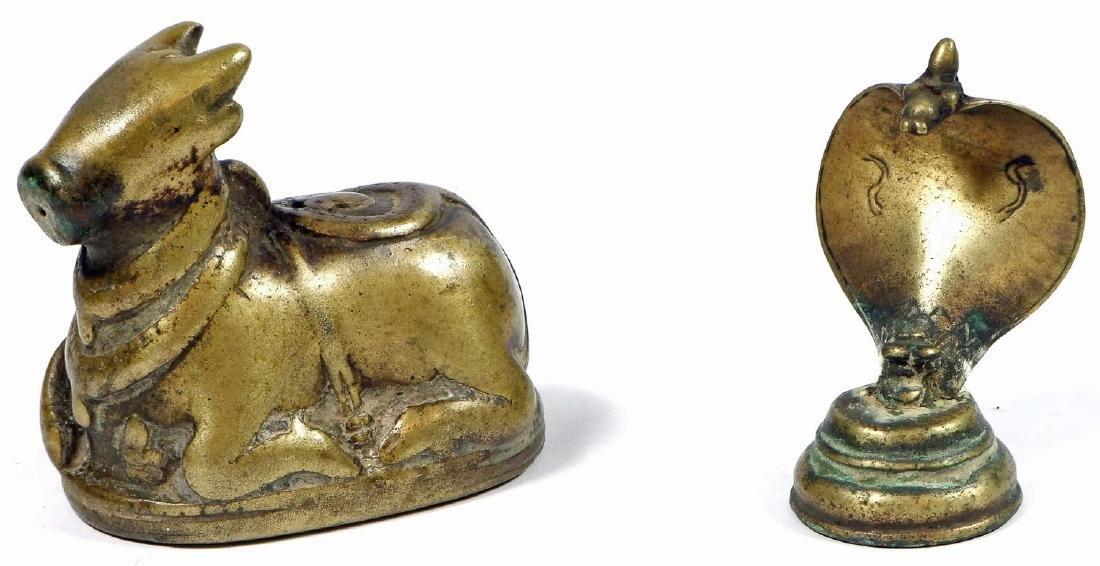 18th/19th C. Bronze Nandi and Naga, India
