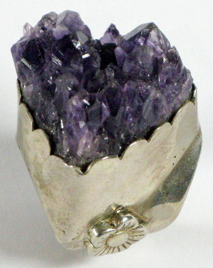 Silver Ring with Amethyst Crystals, India - 2
