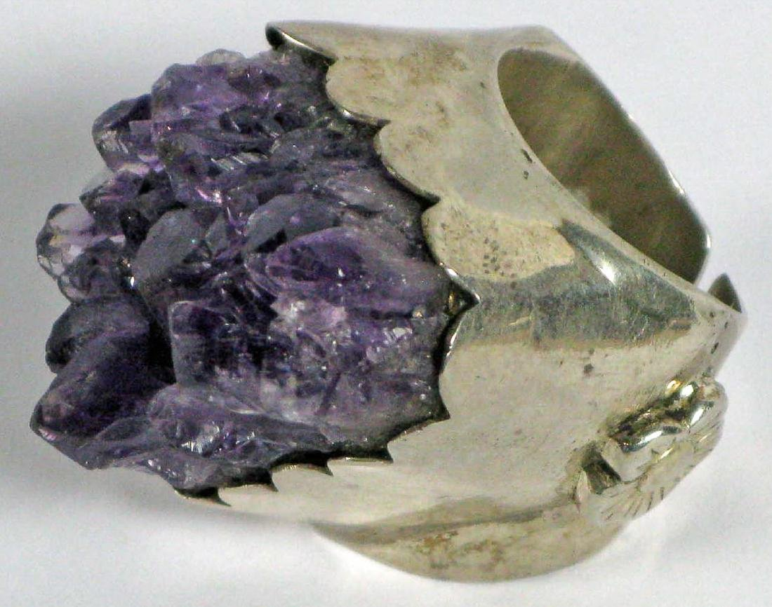 Silver Ring with Amethyst Crystals, India - 3