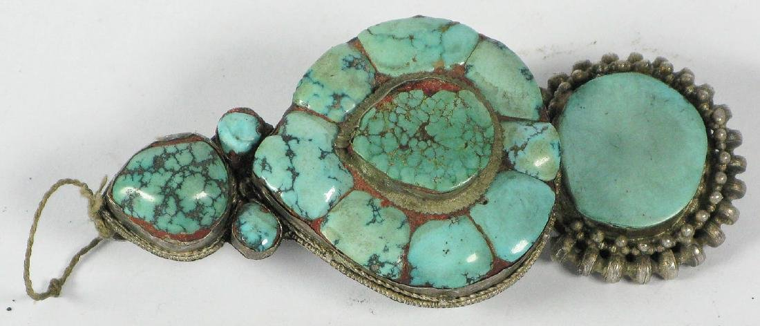 Tibetan Silver/Turquoise Hair Ornament, 19th c.