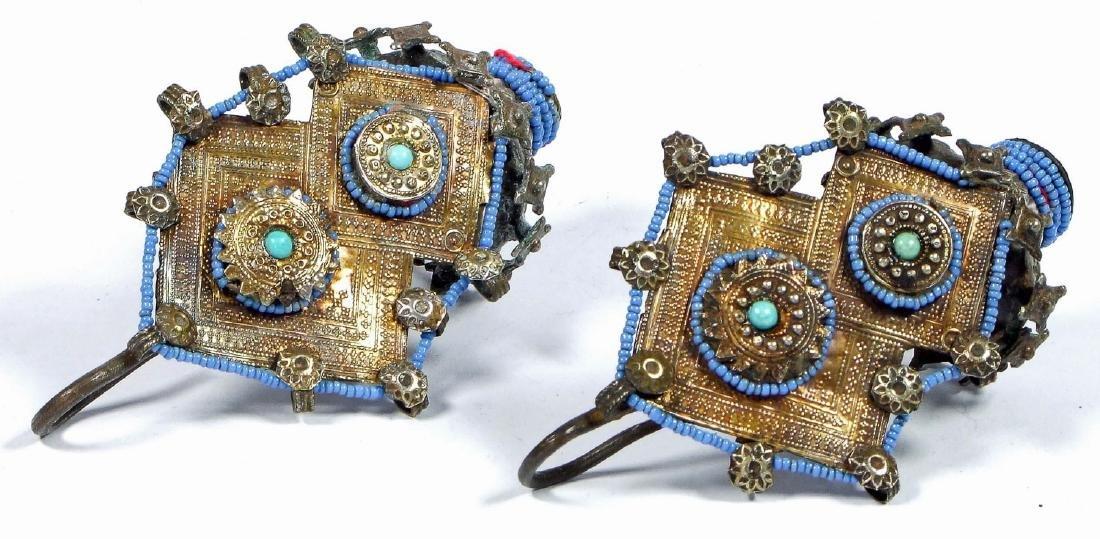 Gilded Silver Ear Ornaments, Katawaz, 19th c.