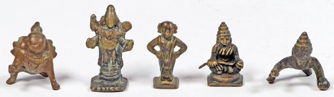 Five Small Bronze Deities, India, 19th/early 20th C.