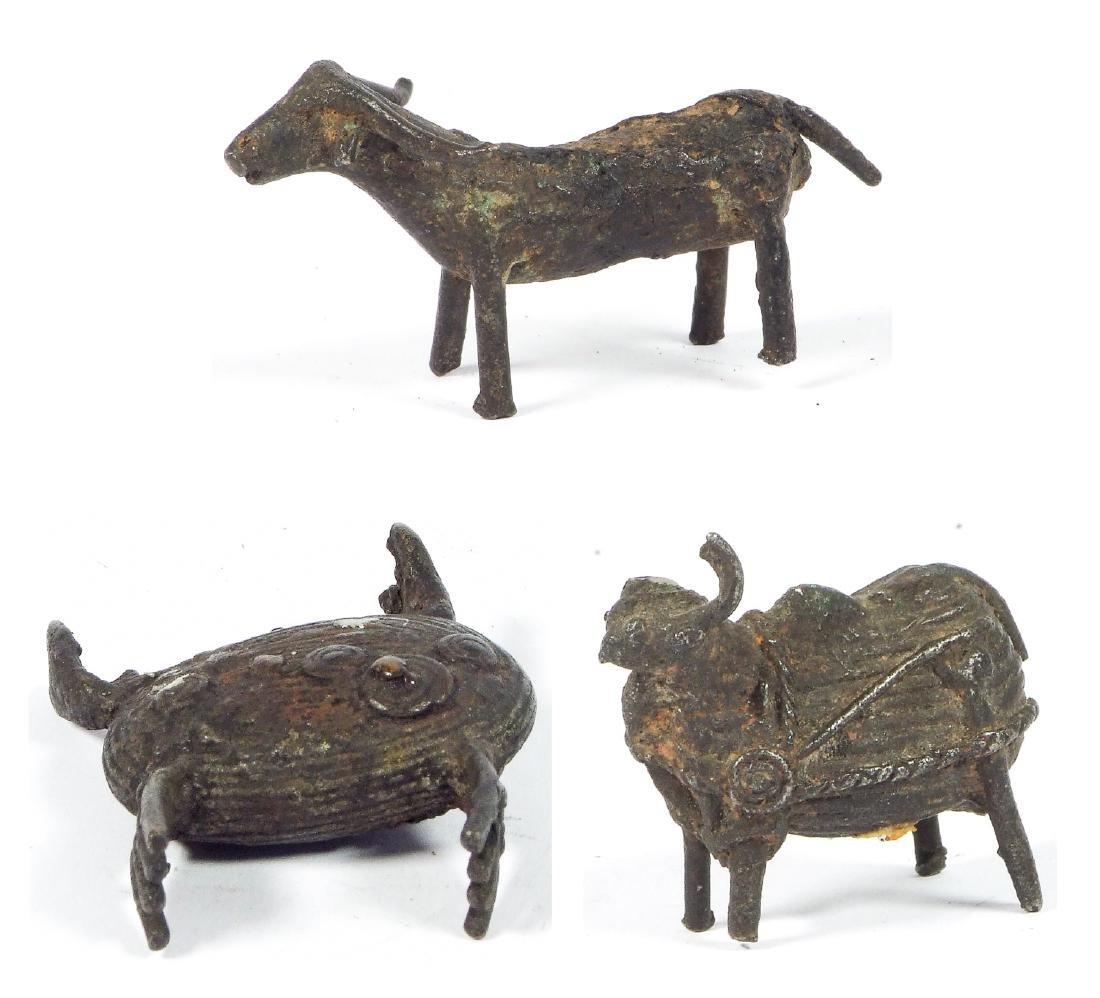 3 Maliah Kond Sculptures: Cow, Buffalo, Crab, India,