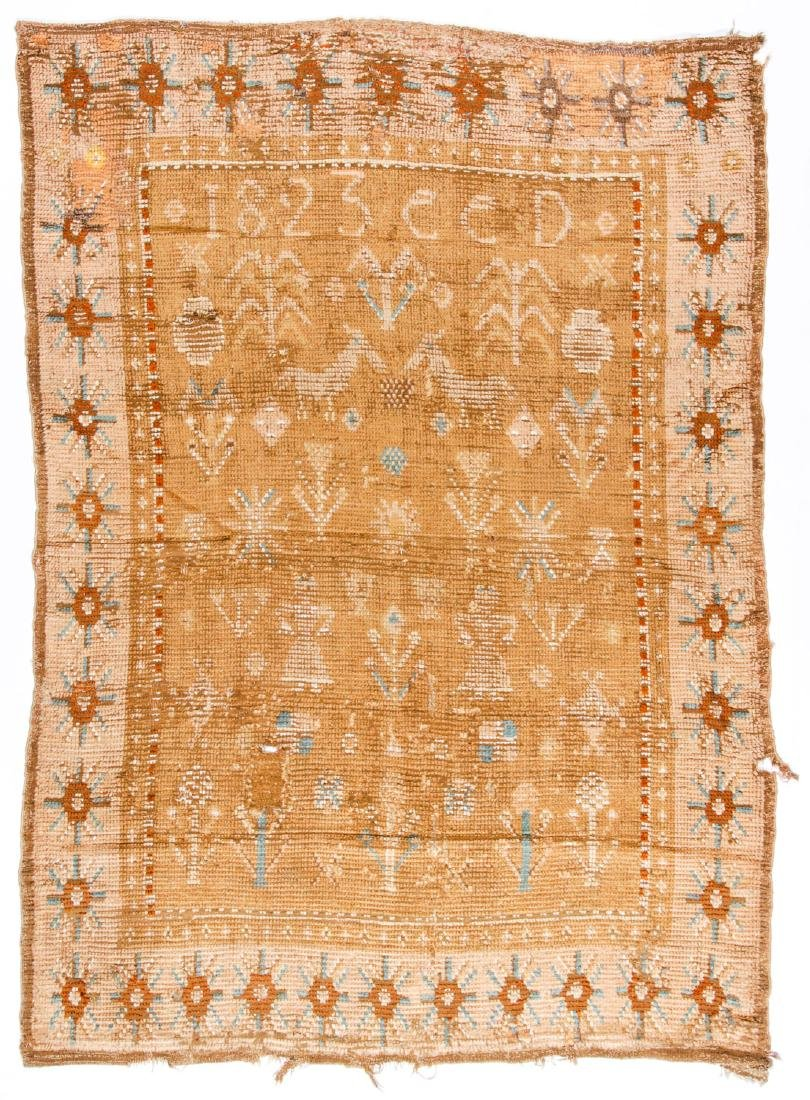 "Early 19th C. Scandinavian Rug, Dated ""1823"""