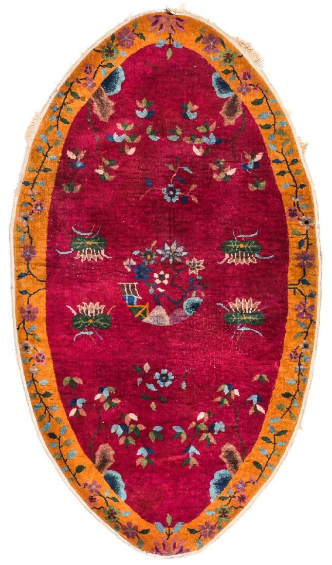 Art Deco Oval Rug, China, Early 20th c: 3'9'' x 6'8''