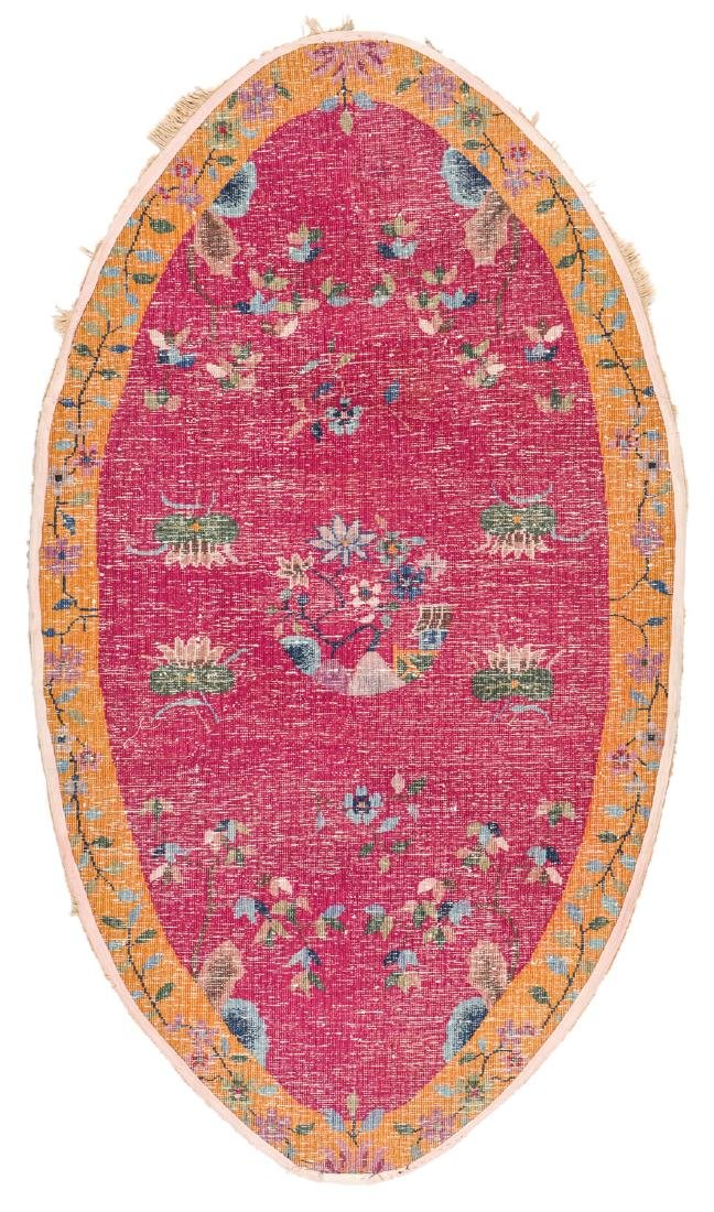 Art Deco Oval Rug, China, Early 20th c: 3'9'' x 6'8'' - 6