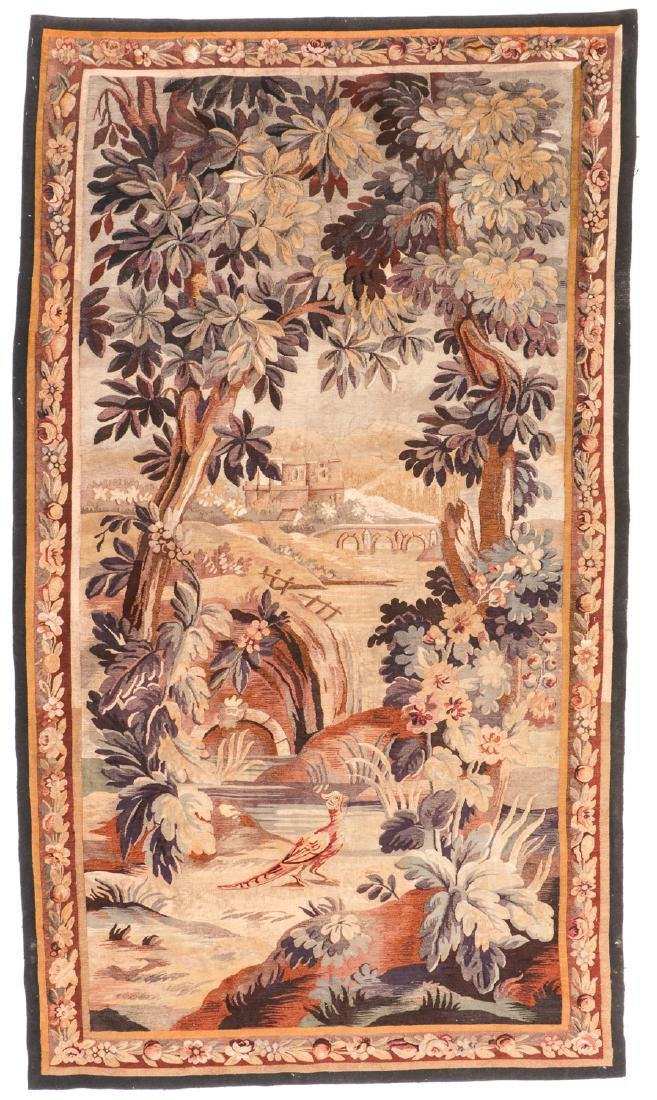 Antique Silk and Wool Aubusson: 105'' x 60''