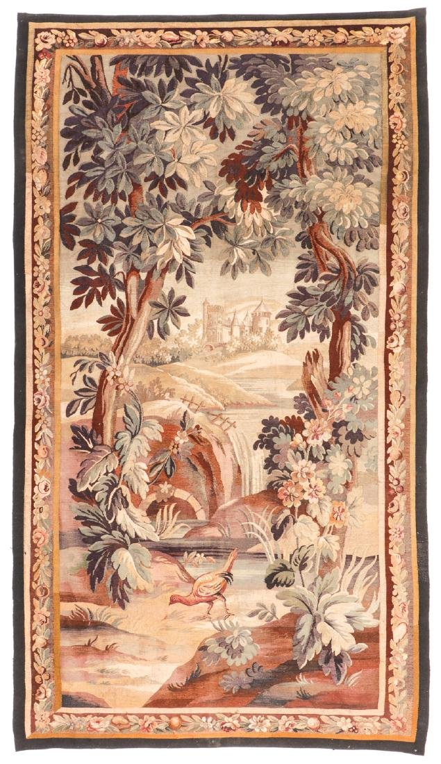 Antique Silk and Wool Aubusson: 106'' x 60''