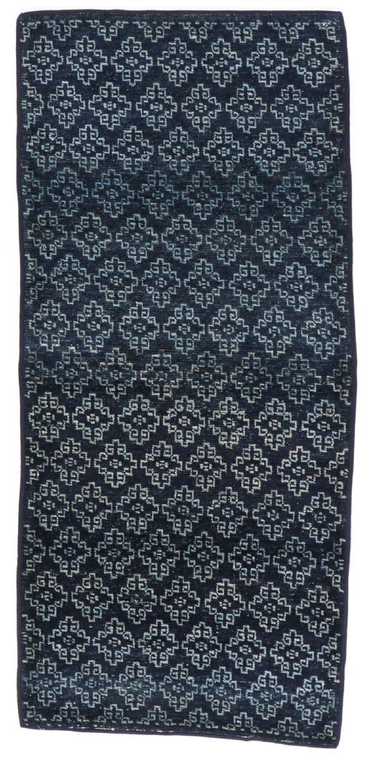 Antique Tibetan Blue Long Khaden Rug: 2'7'' x 5'7'' (79