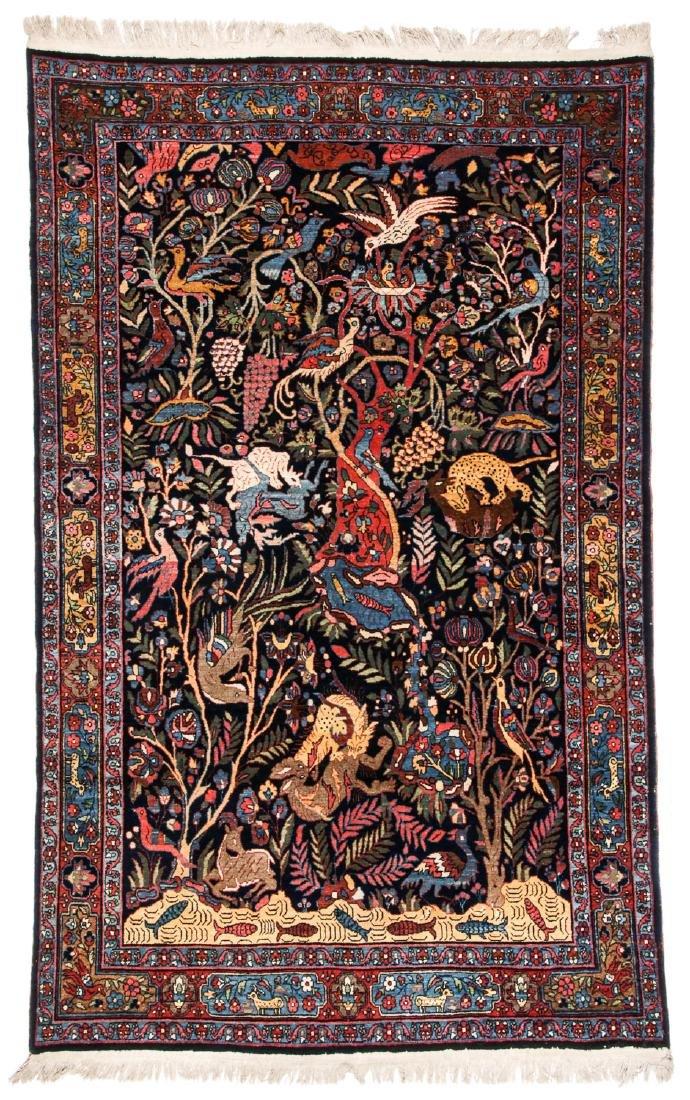 Fine/Rare Antique Bidjar Pictorial Rug: 4'5'' x 6'11''