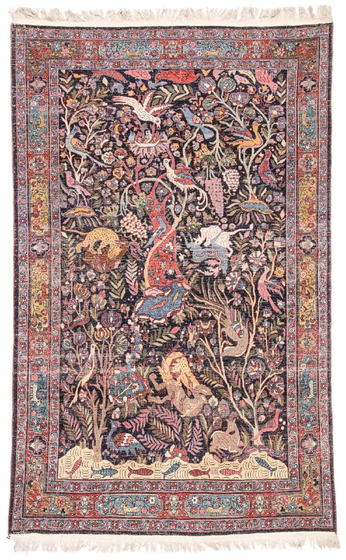 Fine/Rare Antique Bidjar Pictorial Rug: 4'5'' x 6'11'' - 6
