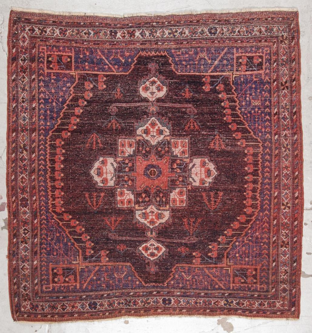 Antique Persian Afshar Rug: 5'3'' x 5'5'' - 6