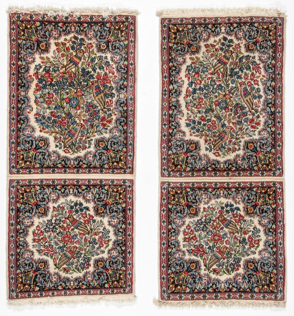 A Pair of Kerman Shared Warp Double Rugs, Persia: 1'8''