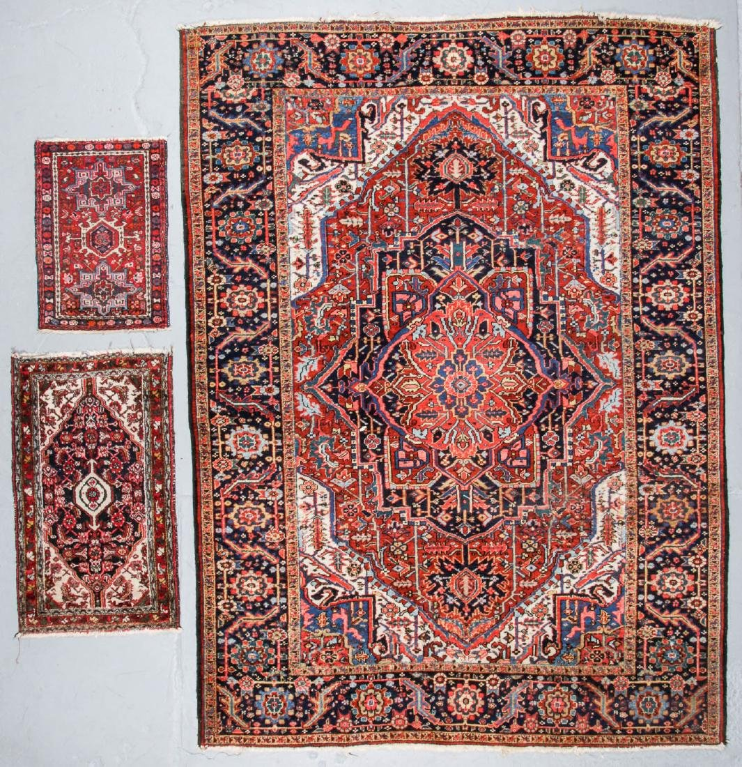Antique Heriz and 2 Small Persian Rugs