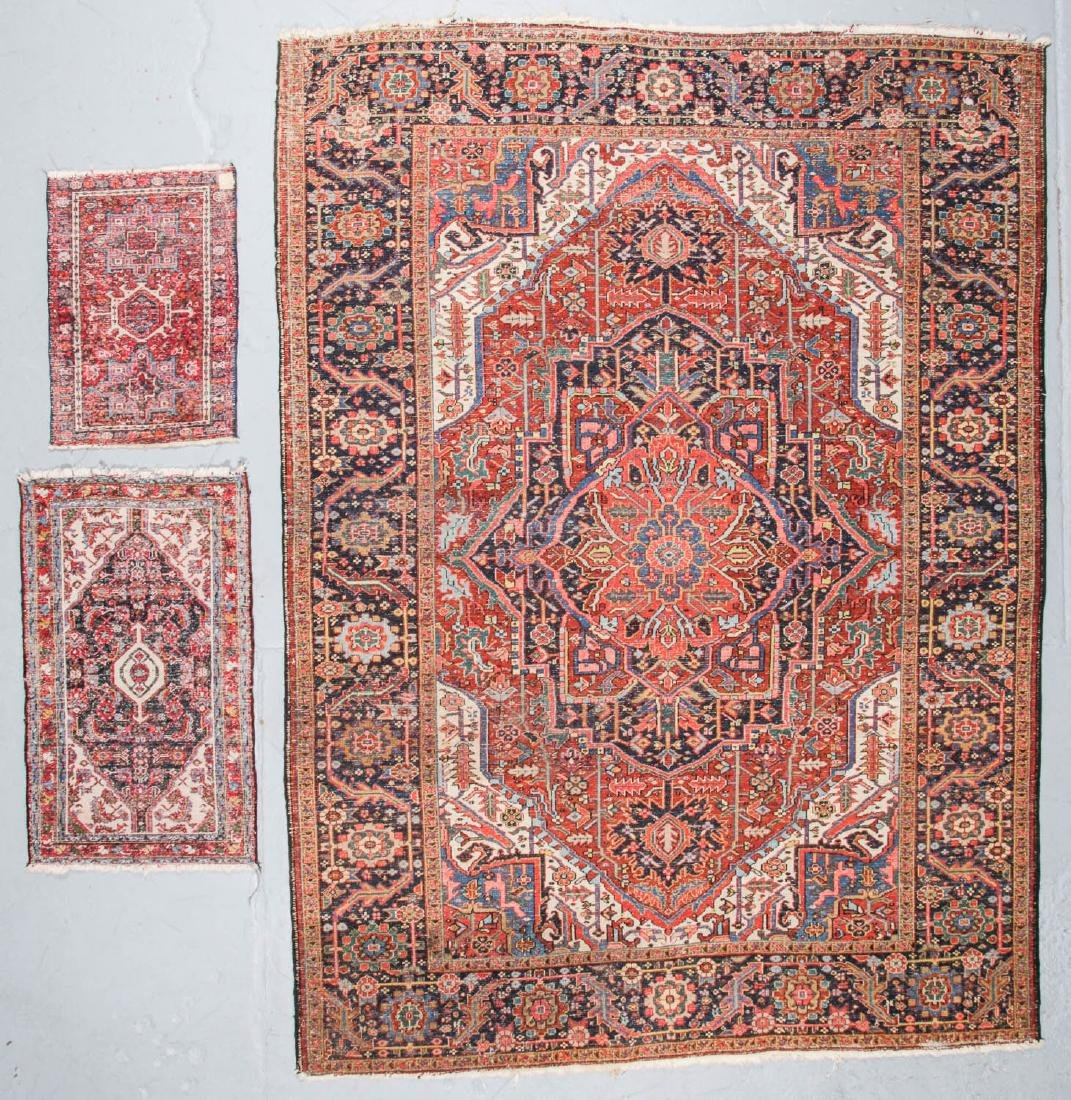 Antique Heriz and 2 Small Persian Rugs - 7