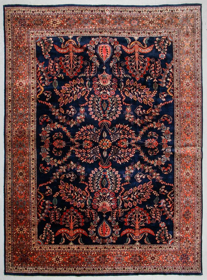 Vintage Blue Sarouk Rug, India: 9'11'' x 13'6''