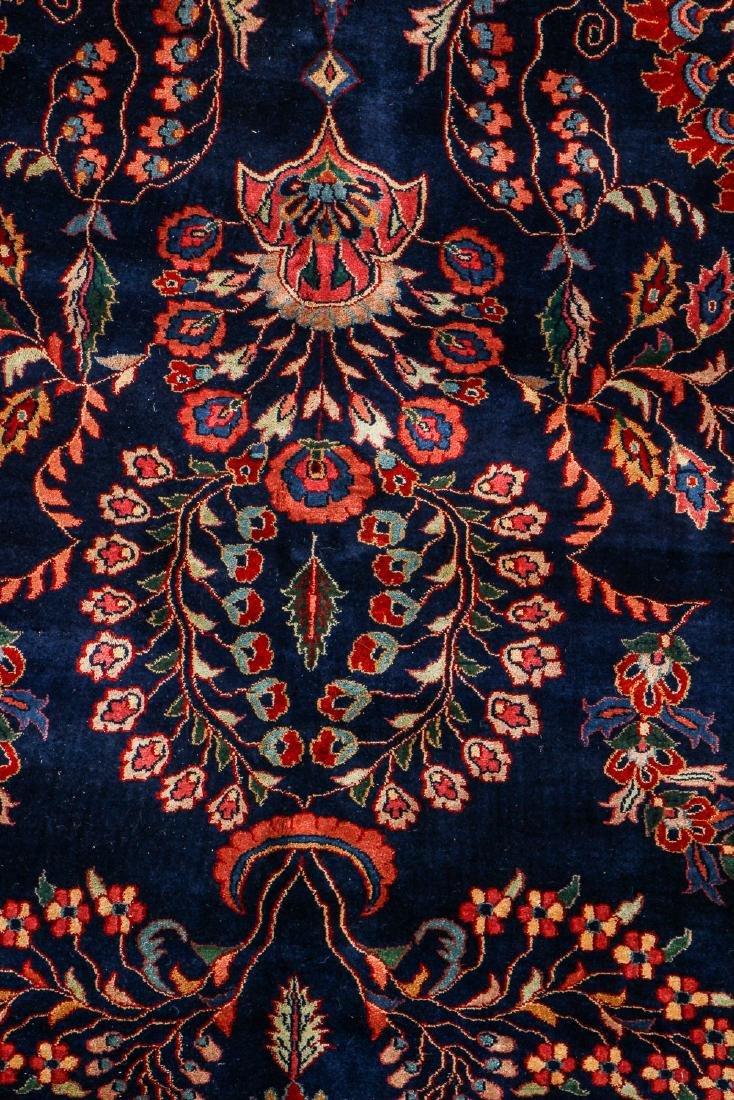 Vintage Blue Sarouk Rug, India: 9'11'' x 13'6'' - 2