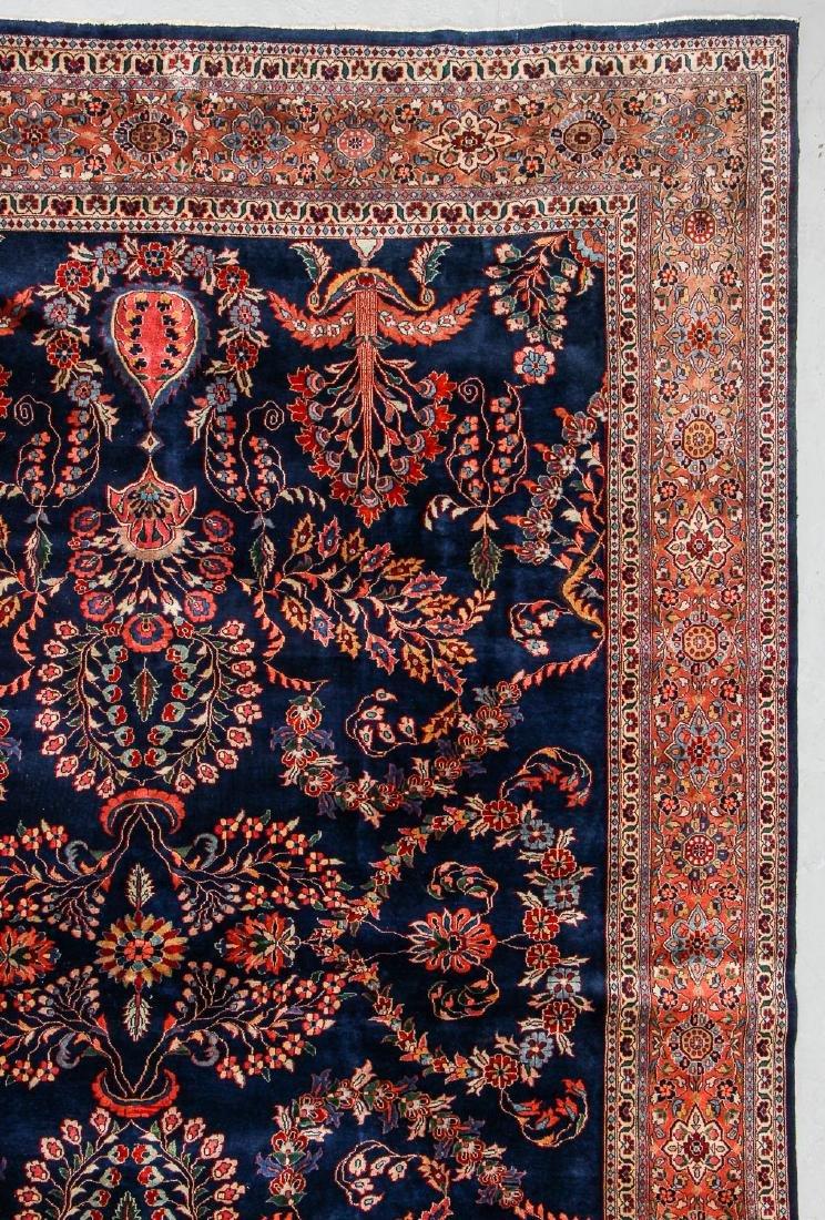Vintage Blue Sarouk Rug, India: 9'11'' x 13'6'' - 3