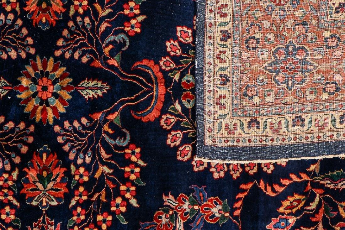 Vintage Blue Sarouk Rug, India: 9'11'' x 13'6'' - 4