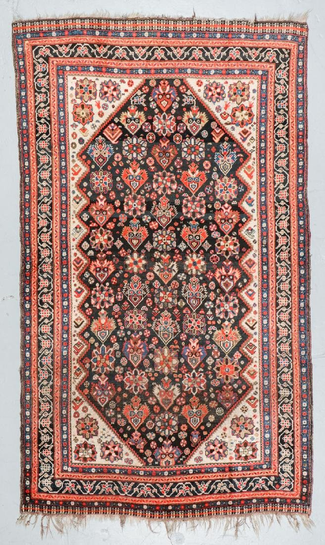 19th C. Gashgai Rug, Persia: 5'8'' x 9'8''