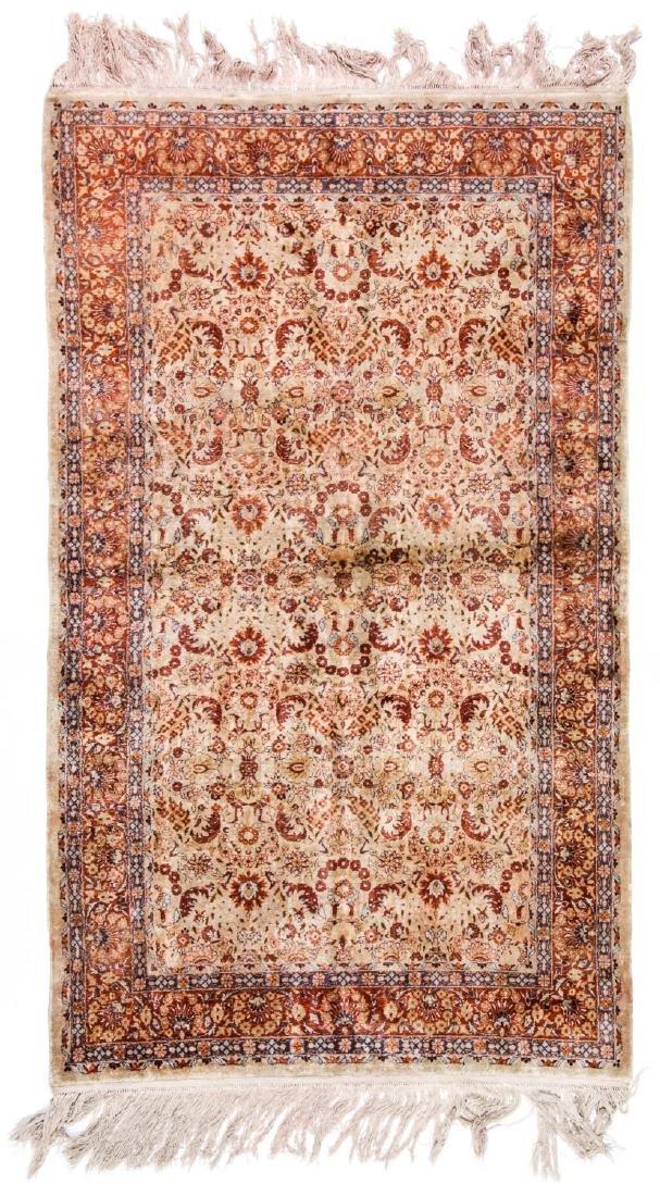 Fine Silk Hereke Style Rug: 3' x 5'2''