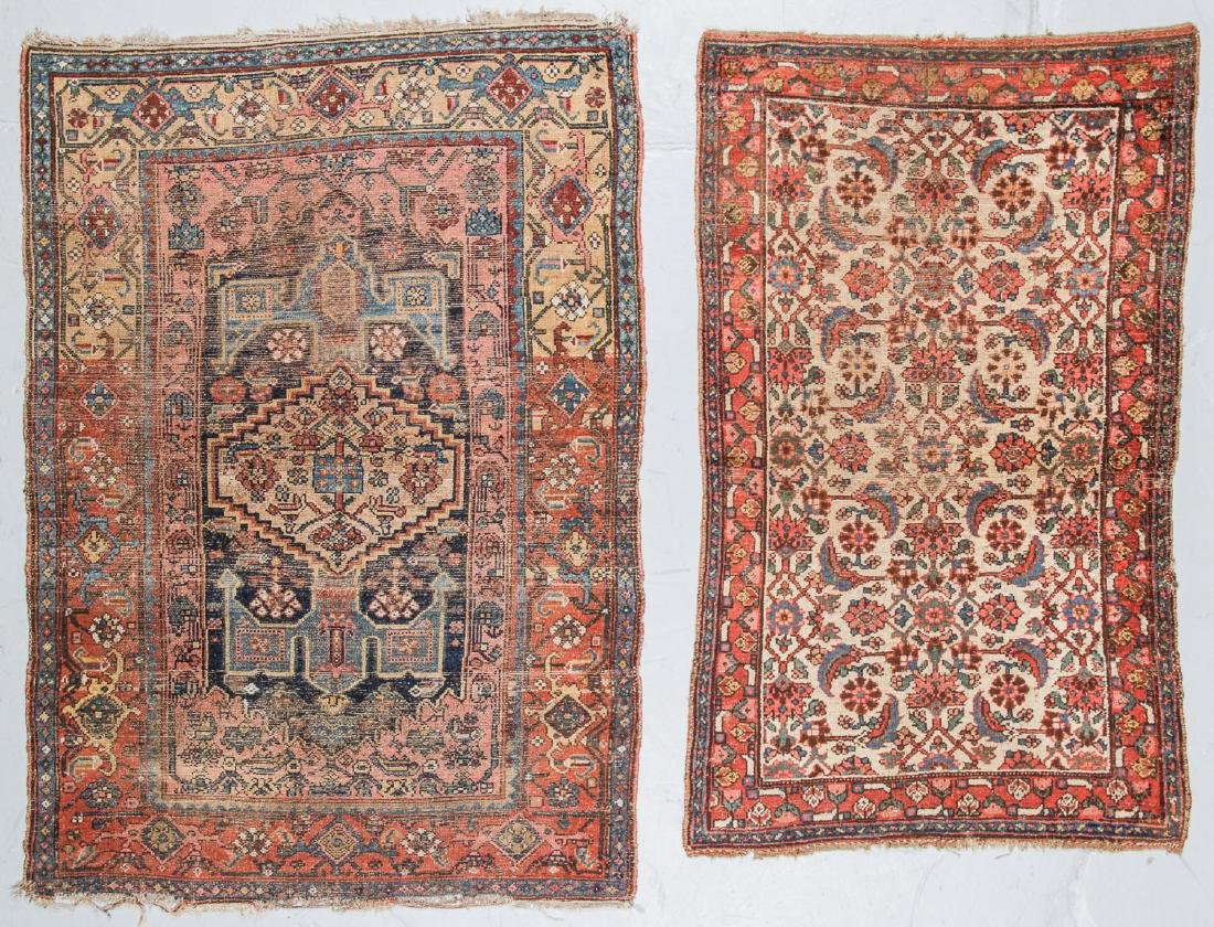 2 Antique Bidjar and West Persian Rugs. Largest Size: