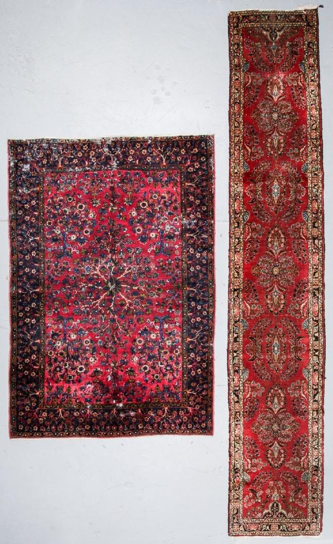 2 Antique Persian Kerman and Sarouk Rugs