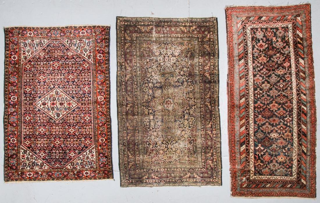 3 Antique Persian Lavar Kerman, Mahal and Kurd Rugs