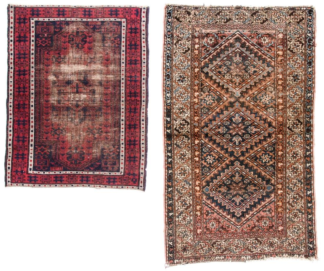 2 Antique Hamadan and Beluch Rugs