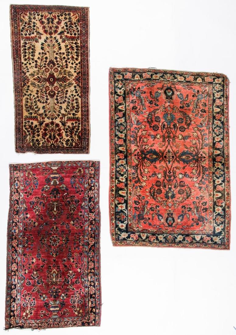 3 Antique Persian Sarouk Rugs