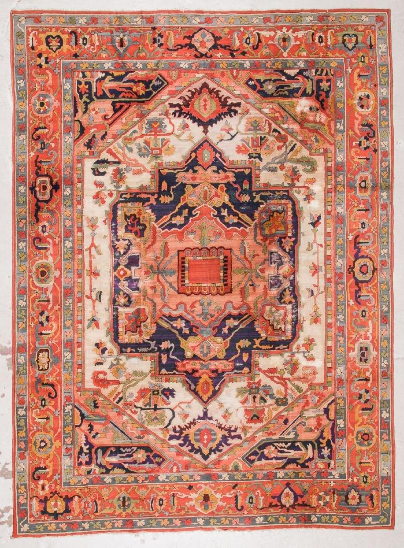 Antique Serapi Style Hooked Rug: 8'1'' x 11'1''