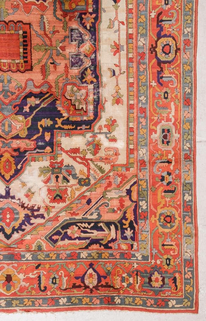 Antique Serapi Style Hooked Rug: 8'1'' x 11'1'' - 3