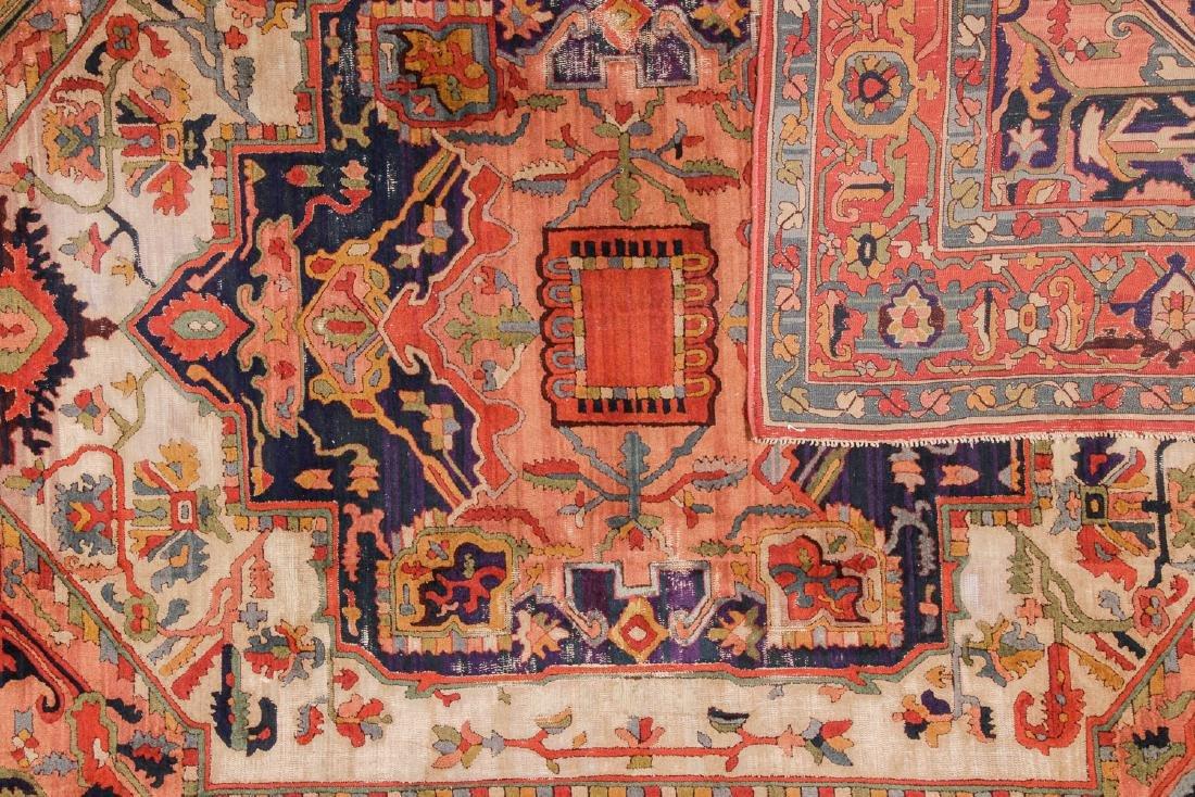 Antique Serapi Style Hooked Rug: 8'1'' x 11'1'' - 4