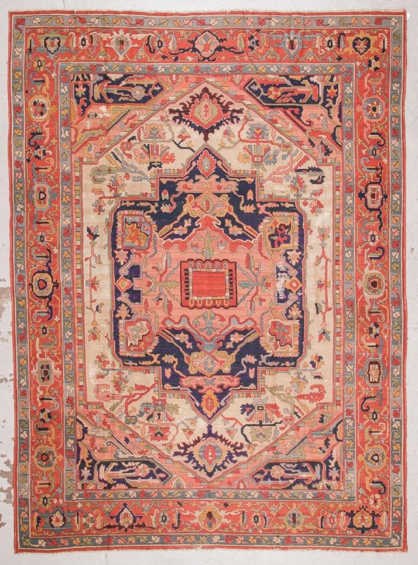 Antique Serapi Style Hooked Rug: 8'1'' x 11'1'' - 7